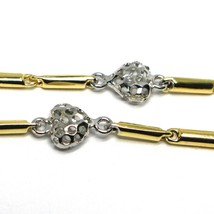 Bracelet White Gold Yellow 18k 750, Tubes, Hearts Perforated, Length 17 CM image 2