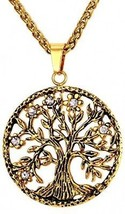 18K Gold Plated Wheat Chain Tree Of Life Pendant Necklace - $37.14