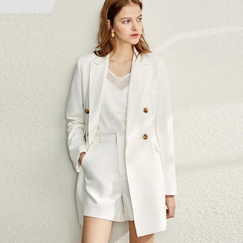 Amii minimalism spring suit set women causal lapel olstyle coat half solid short pant 12070116