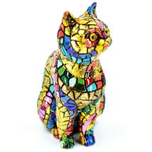 """Barcino Hand Painted Limited Edition Carnival Mosaic 4"""" Cat Kitten Figure 40686 image 4"""