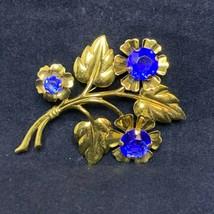 Vintage Large Gold Tone Cobalt Rhinestone Bouquet Brooch (2473) - $15.00