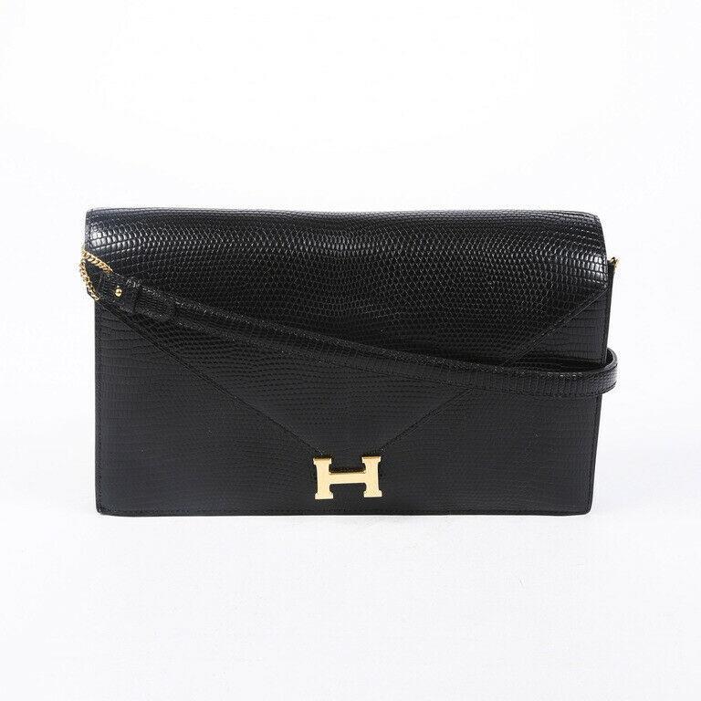 Vintage Hermes Lydie Lizard Skin Shoulder Bag