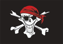 Flag 3X5 Happy Boating Boat Red bandanna happy Skull Pirate Cool - $9.98