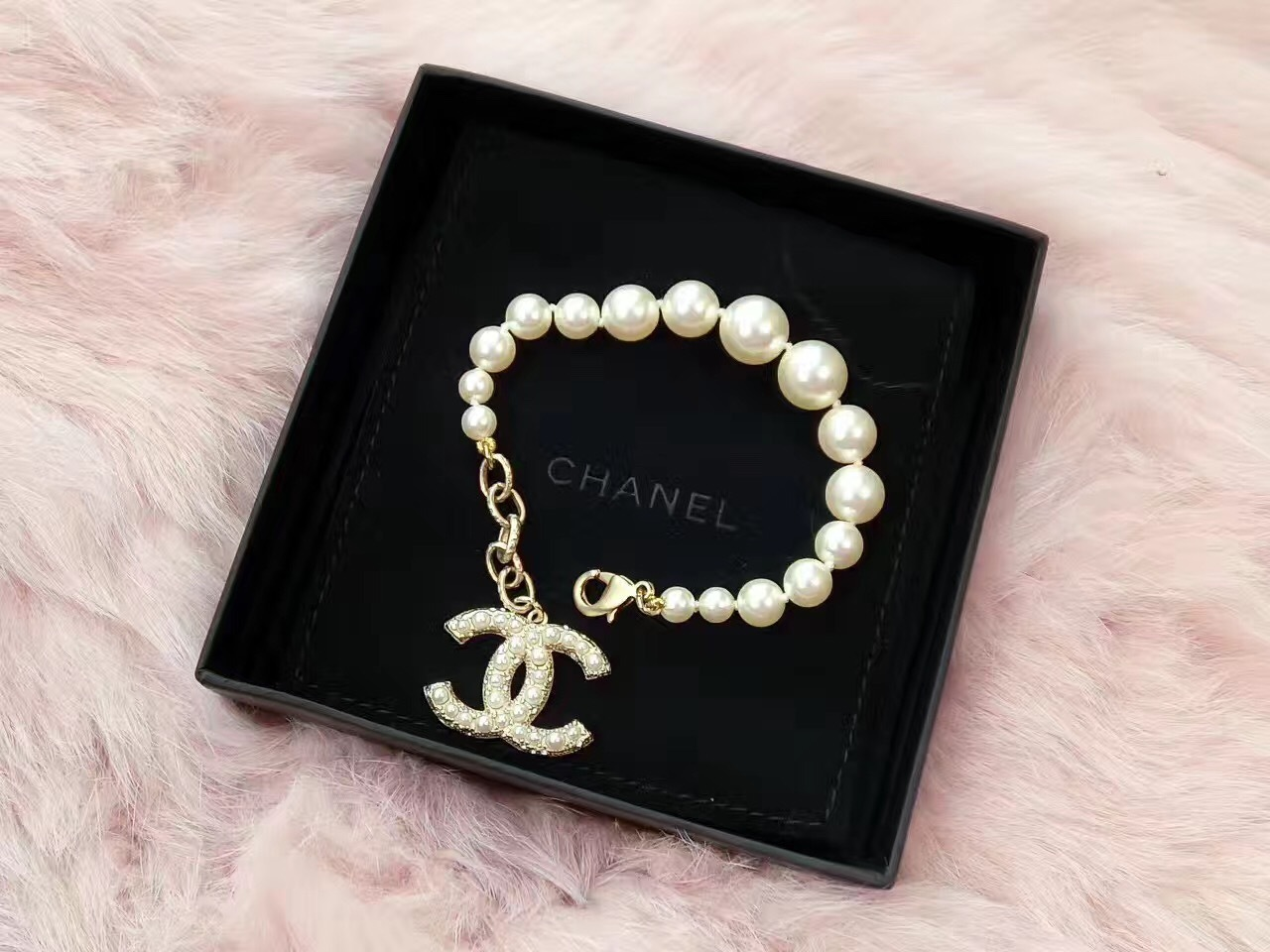 100% Authentic CHANEL Anniversary Limited Edition Pearl Bracelet CC Charm Gold
