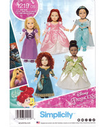 "Simplicity 1219 Crafts 18"" Doll Clothes Sewing Pattern Disney Princess D... - $7.45"