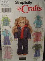 """Sewing Pattern 18"""" dolls Am Girl, Alexander, others Casual Clothes 7083 UNCUT - $5.00"""