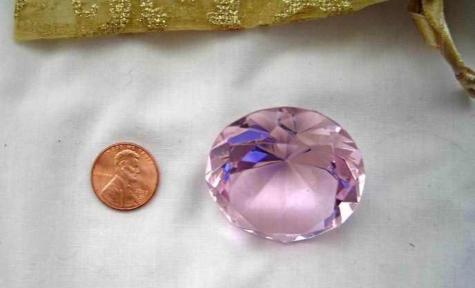 Pink Crystal Clear Paperweight Faceted Cut Glass large Diamond Jewelry Decor