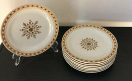 "8 Pier 1 Christmas Holiday Red Green Gold SNOWFLAKES 7 1/2"" Dessert Plates - $29.65"