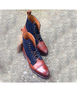 Handmade Cap Toe Ankle High Boots, Brown Leather Suede Casual Dress Boot... - $179.97