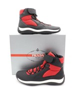 Prada Black Red Punta Ala America's Cup Ankle Strap High-Top Sneakers Sh... - $365.00