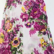Purple Floral Meadow Print Neck Scarf Cotton Bandana Stole Pom Pom Shawl... - $16.78