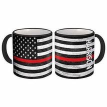 HARRISON Family Name : American Flag Gift Mug Firefighter USA Thin Line - $13.37+