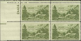 1951 Nevada Centennial Plate Block of 4 US Postage Stamps Catalog Number 999 MNH