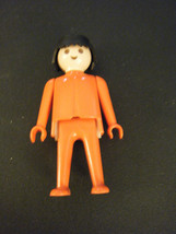Vintage 1974 Geobra Playmobil Red Figure w/Black Hair - $5.93