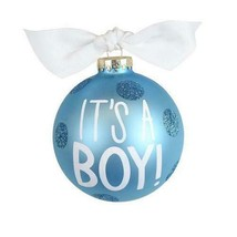 SS WED Cotton Colours Blue/Dots Bauble It's A BOYl 1st Christmas Ornament - $25.50