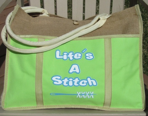 Primary image for Lime Green Life's A Stitch jute canvas bag Desgins by Lisa