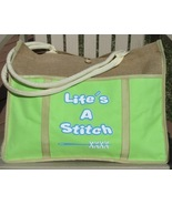 Lime Green Life's A Stitch jute canvas bag Desg... - $24.00