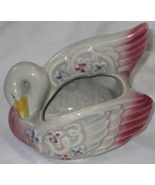Vintage Swan Planter Marked with #3 Gray and Maroon Color - $40.00