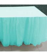Aqua Blue Tulle Double Layer Ruffle Table Skirt - $89.99+