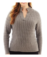 Liz Claiborne Long-Sleeve Split-Neck Sweater Smoke Sweater Plus New Msrp... - $21.99