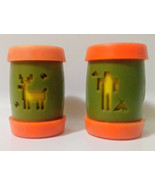 Salt And Paper Shakers with Indian Tribal Design Orange and Green Plasti... - $15.00