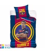 FC BARCELONA LUIS SUAREZ SINGLE DUVET SET COTTON COVER PILLOWCASE FOOTBA... - $33.07