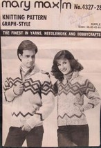 Vintage Mary Maxim Knitting Patterns ADULTS Sweater RIPPLE Design Sizes 38 - 44 - $6.95