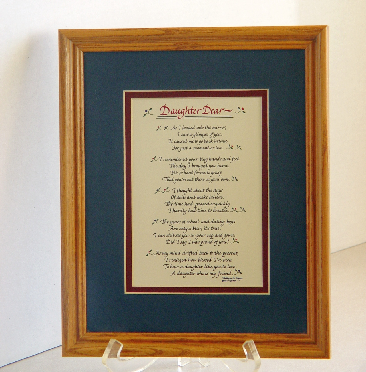 "Primary image for Laura Leiden Calligraphy: ""Daughter Dear''  Framed and Matted"