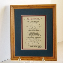 "Laura Leiden Calligraphy: ""Daughter Dear''  Framed and Matted - $8.90"