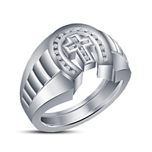 14k White Gold Plated 925 Silver Round Simulated Daimond Cross Men's Band Ring - $85.99