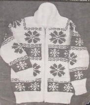 Vintage Mary Maxim Knitting Patterns Cardigan Sweater SNOWFLAKE Sizes 32 - 36 - $6.95