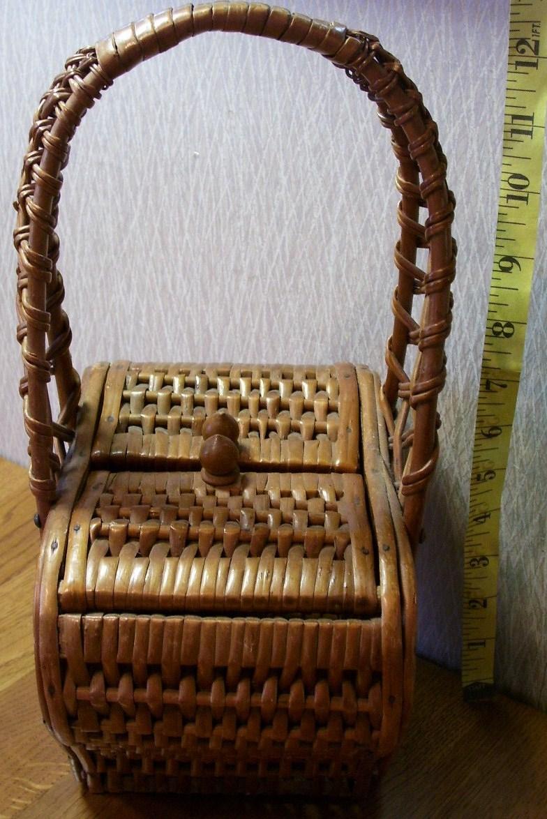 Oriental Handwoven Heart Shaped Basket Box Neat!