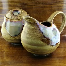 Sango Splash Brown 4951 Stoneware Cream Pitcher & Sugar Bowl Set ~ Drip ... - $29.95