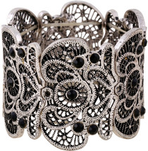 D EXCEED Women's Anti Silver Statement Bracelet Lace Filigree Cuff Brace... - $58.86