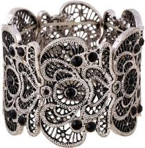 D EXCEED Women's Anti Silver Statement Bracelet Lace Filigree Cuff Brace... - $58.86