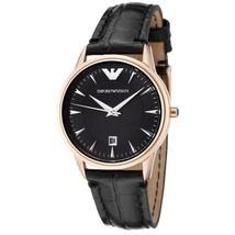 Emporio Armani AR2445 Gold Bezel Black Dial Black Leather Strap Ladies Watch - $149.99