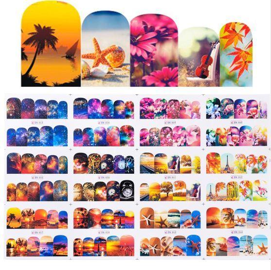 HS Store - 12 pcs/set BN853-864 Nail Art Sticker Retro Styles for Nail Polish