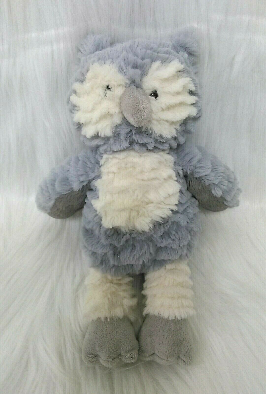 """10"""" Mary Meyer Marshmallow Swoops Owl Gray Cream Soft Toy Plush Lovey B213"""