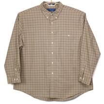 Towncraft Mens Shirt Wrinkle Free Beige Brown Plaid XXL 2XL Long Sleeve - $29.65