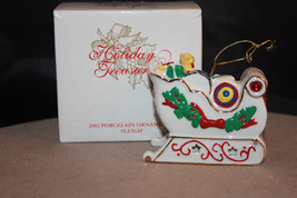 Avon 2003 Holiday Treasures Porcelain Sleigh Christmas Ornament   - $9.98