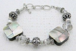 VTG Silver Tone Abalone Mother of Pearl Clear Crystal Toggle Bracelet - $19.80