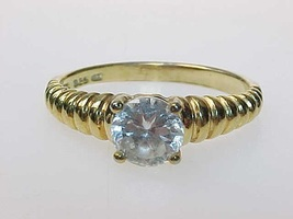 Vintage GOLD over STERLING RING with CZ - Size 9 3/4 - $75.00