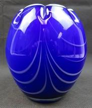 Art Glass Pop Art Deco heavy cobalt blue glass vase - $48.00