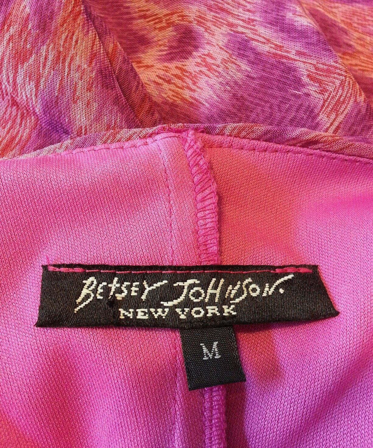 Vtg 90's Betsey Johnson NY Pink Psychedelic Tiger Animal Print Slip Dress M