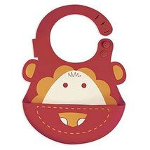Lovely Cartoon Lion Pattern Button Silicone Baby Bibs Pocket Meals image 2