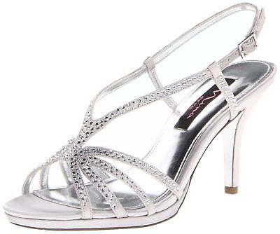 Nina Women's Bobbie JS Dress Sandal Silver Satin 6.5 B(M) US