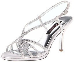 Nina Women's Bobbie JS Dress Sandal Silver Satin 6.5 B(M) US - $871,29 MXN