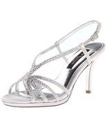 Nina Women's Bobbie JS Dress Sandal Silver Satin 6.5 B(M) US - £34.16 GBP