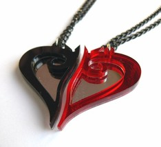 Kingdom Hearts best friends necklaces Laser cut black red plastic - $14.86