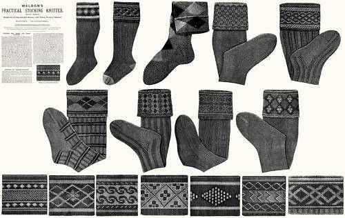 Victorian Stockings Book Patterns Sock c1910